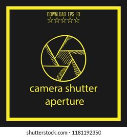 camera shitter aperture sketch vector icon
