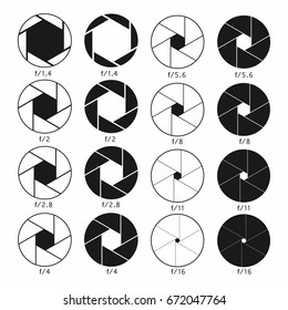 Camera shutter aperture icons set. Monochrome diagrams collection. Vector
