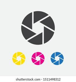 Camera shutter aperture icons. vector illustration
