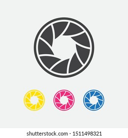 Camera shutter aperture icons. vector illustration