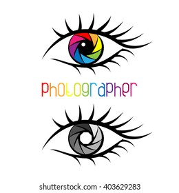 Camera shutter in eye design Concept. Logo template for photography studio, photographer, photo company, web site. Colorful or black and white diaphragm.