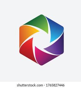 camera shutter hexagon vector template logo