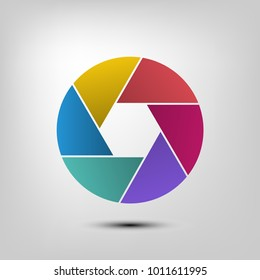 camera shutter icon, aperture and photography , element for infographic design , illustration ,eps10 .