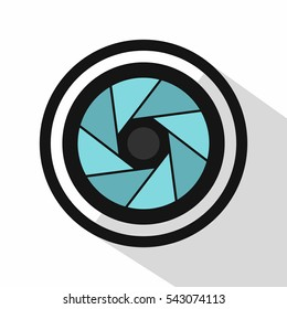 Camera shutter icon. Flat illustration of camera shutter vector icon logo for web