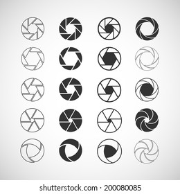 camera shutter icon set, each icon is a single object (compound path), vector eps10