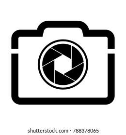 Camera shutter icon symbol and shutter blade vector illustration
