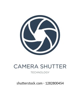 camera shutter icon vector on white background, camera shutter trendy filled icons from Technology collection, camera shutter vector illustration