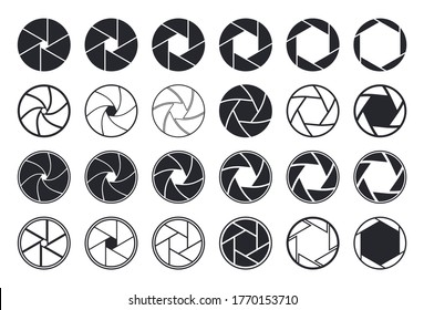 Camera shutter icons. Aperture and lens for focus. Photo optics. Diaphragm, objective, zoom-snap of photograph. Logos of photography studio, film, picture. Symbol for photo, video equipment. Vector.