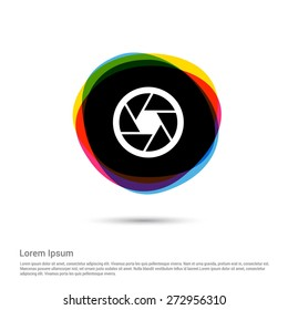 Camera shutter Lens Icon, White pictogram icon creative circle Multicolor background. Vector illustration. Flat icon design style