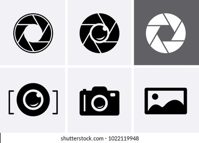 Camera Shutter, Lenses and Photo Camera Icons set. Photography logo, camera icon vector