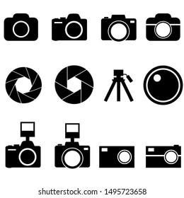 Camera shutter, lenses and photo camera icons set logo isolated on white background