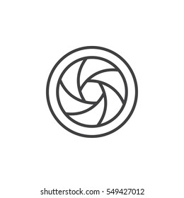Camera Shutter line icon, outline vector sign, linear pictogram isolated on white. Symbol, logo illustration