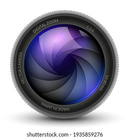 Camera shutter photo focus isolated design lens flare. Shutter zoom photography camera