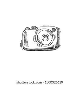 camera sketch drawing icon summer themed, vector illustration