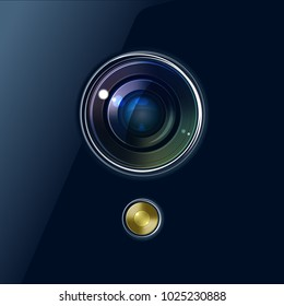 Camera of smartphone or webcam or other device. Vector background