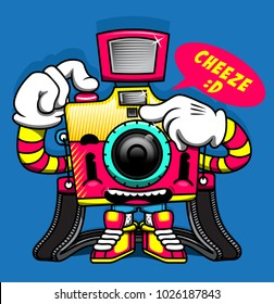 camera smile film street colorful happy funny cute character design cartoon
