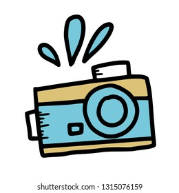 Camera symbol in doodle style. Hand drawn vector photography element isolated on white background. Color illustration.