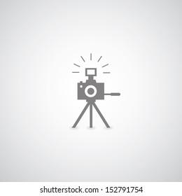 camera symbol on gray background