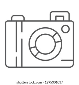 Camera thin line icon, lens and photo, photocamera sign, vector graphics, a linear pattern on a white background, eps 10.