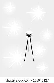 camera with a tripod and flash isolated on gray background