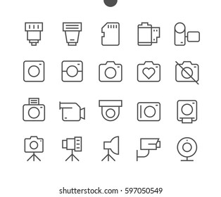 Camera UI Pixel Perfect Well-crafted Vector Thin Line Icons 48x48 Ready for 24x24 Grid for Web Graphics and Apps with Editable Stroke. Simple Minimal Pictogram Part 1-1