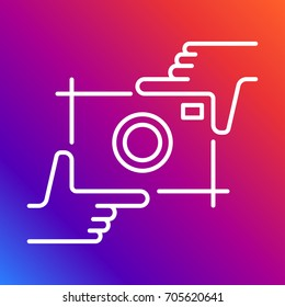 Camera Vector Icon. Photography logo and hands line for use photo studio, photoalbum, photo laboratory, foodphoto, wedding and etc. Vector Illustration. Editable stroke