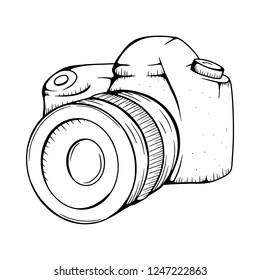 Camera Vector illustration. Camera line drawing