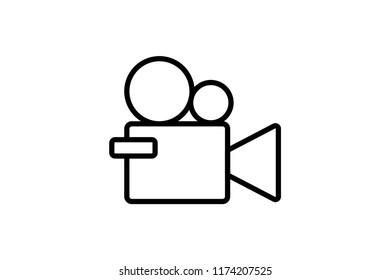Camera video icon stock vector illustration. Editable Stroke. 128x128 Pixel Perfect.