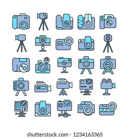camera and video camera icons, blue theme