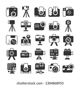 camera and video recorder icons set