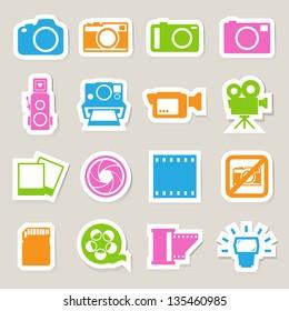 Camera and Video sticker icons set, Illustration