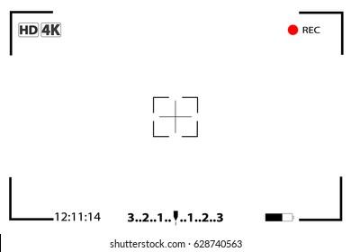 Camera view finder focusing screen recording Video screen vector viewfinder