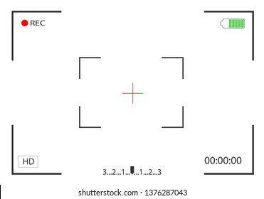 Camera view and focusing screen recording video. Camera frame viewfinder. Vector illustration.