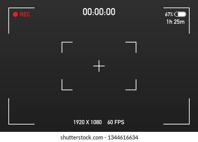 Camera view viewing images. Visual screen focusing. Video recording screen on a transparent background. Vector stock illustration.