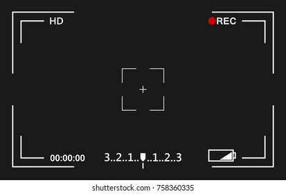Camera view viewing images. Visual screen focusing. Video recording screen.