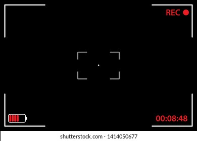 Camera viewfinder black background. UI elements: recording label, battery icon, time indicator, crosshair, scanlines. Vector illustration template Recording Video
