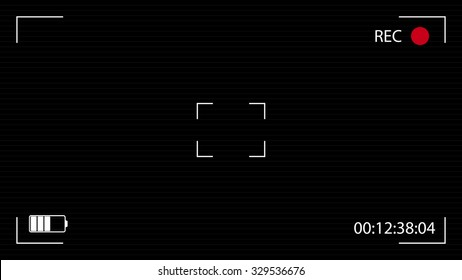 Camera viewfinder black background. Vector widescreen illustration. UI elements:  time indicator, recording label, battery icon, crosshair, scanlines.