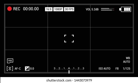 Camera viewfinder black background. Widescreen vector illustration. UI elements: time indicator, recording label, battery icon, crosshair.
