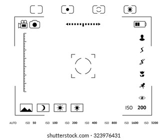 Camera viewfinder display. Exposure and composition focus, electronic zoom, photography optical, finder and screen, vector illustration
