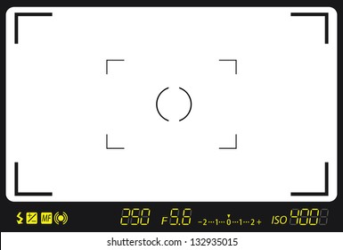 camera viewfinder with exposure and camera settings.