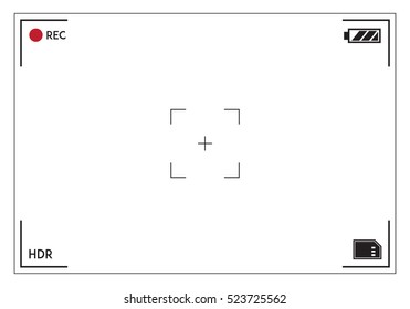 Camera viewfinder. Focusing screen of the camera. Viewfinder camera recording. Vector template for your design.