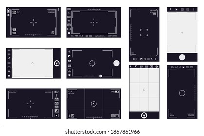 Camera viewfinder frames. Camcorder interface, cam screen with recording time and video quality. Camera digital interface vector illustrations. Flash, hdr, battery, stabilization ui icons