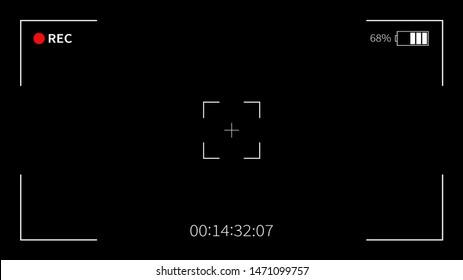 Camera viewfinder. Recording. Video screen vector. Focusing screen camera.
