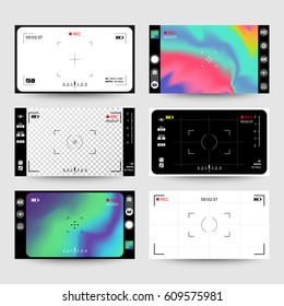 Camera Viewfinder Vector. Set Modern Interface Concept For Touch Devices
