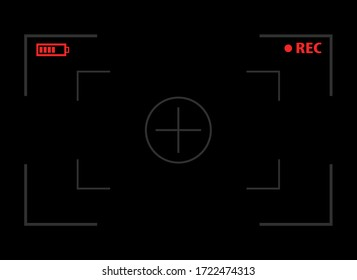 Camera viewfinder. Video screen on a black background. vector illustration