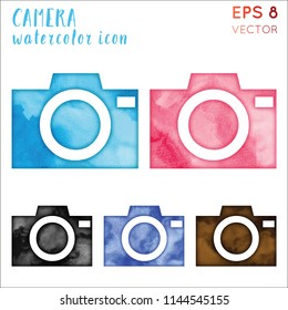 Camera watercolor icon set. Admirable hand drawn style symbol. Uncommon painting. Modern design for infographics or presentation.