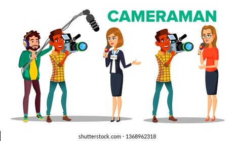Cameraman Filming Journalist Interview Cartoon Vector Character. Cameraman Using Professional Equipment. Live Television. Press, Mass Media. News, TV Program Broadcasting Flat Illustration
