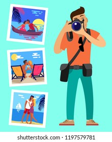 Cameraman and his works pictures of merry couples resting on beach. Happy lovers at sunset, hugging at coastline, meeting sunrise in boat swimming at river