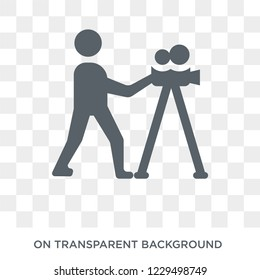 cameraman icon. Trendy flat vector cameraman icon on transparent background from Cinema collection. High quality filled cameraman symbol use for web and mobile