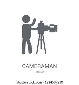 cameraman icon. Trendy cameraman logo concept on white background from Cinema collection. Suitable for use on web apps, mobile apps and print media.